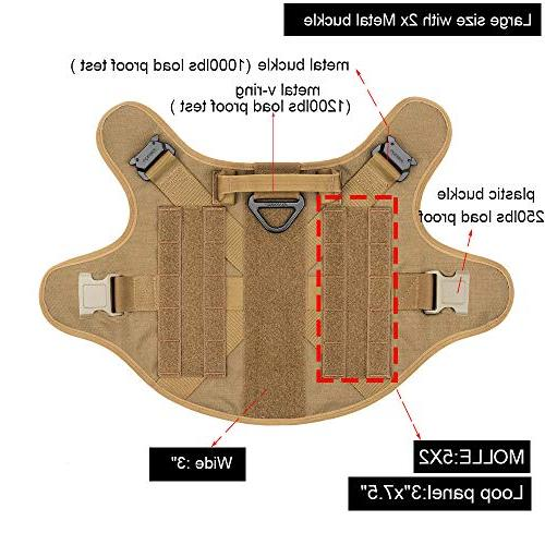 ICEFANG Dog Tactical Harness,Military Working Dog Molle Vest,No Pulling Clip,Metal Buckle Put On Half