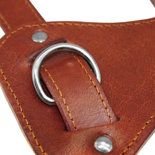 Brown Leather Dog Harness for No Heavy Pet