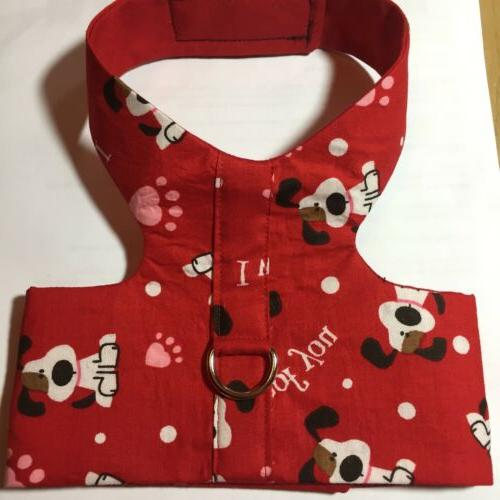 I Woof You Red Handmade Dog Harness Vest XS
