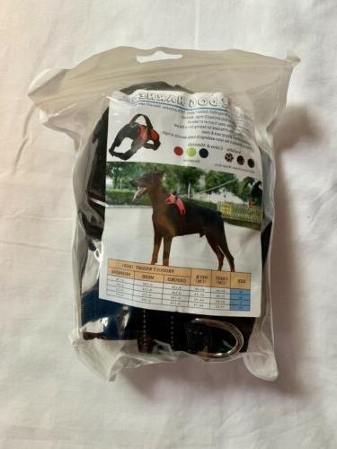 large dog harness black no pull adjustable