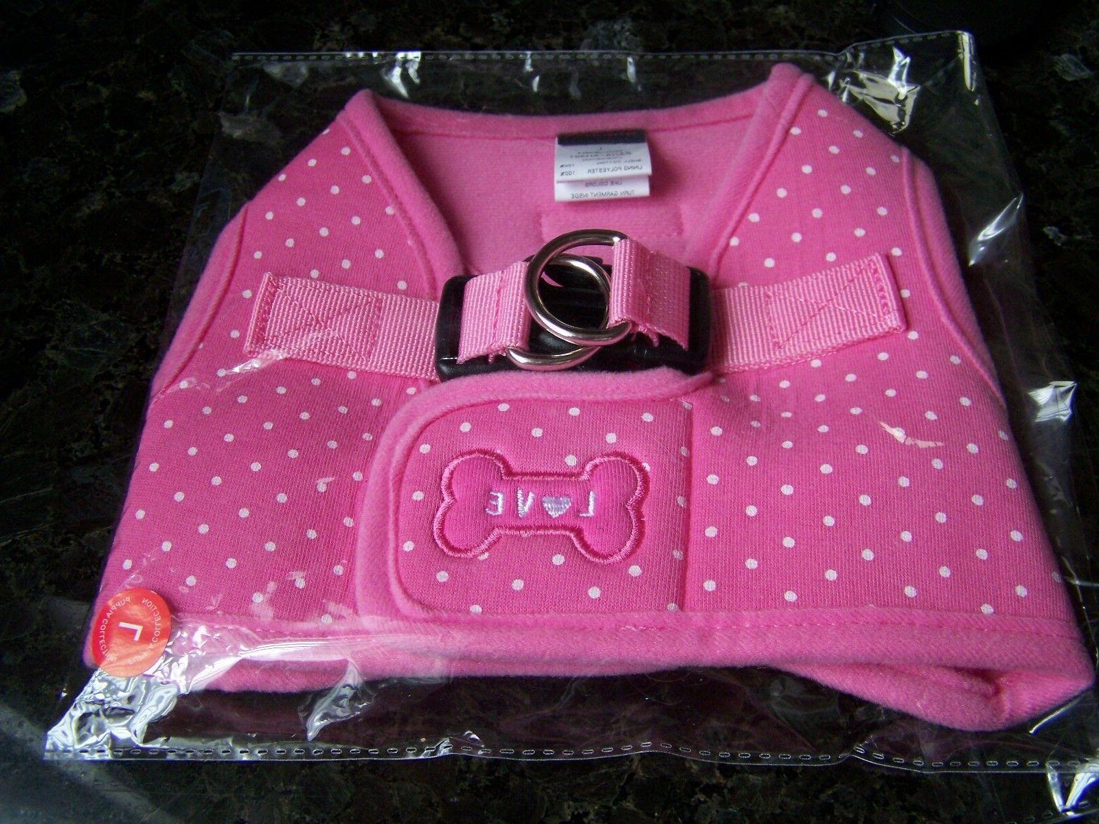 NEW! PUPPIA DOG HARNESS SOFT VEST - PINK DOTTY LARGE