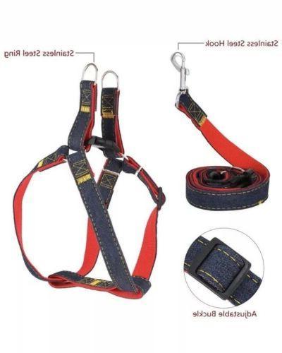 New!! Dog Harness And Leash Denim