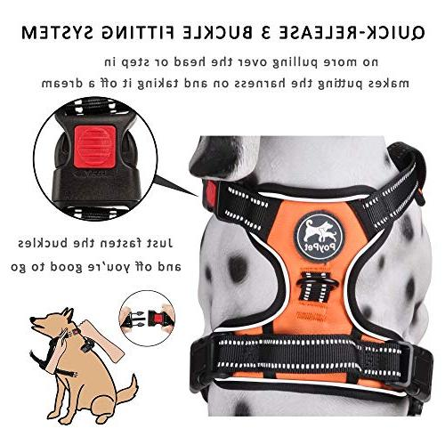 PoyPet Pull Dog Harness, Lead Adjustable Soft Padded Pet Vest Handle Medium