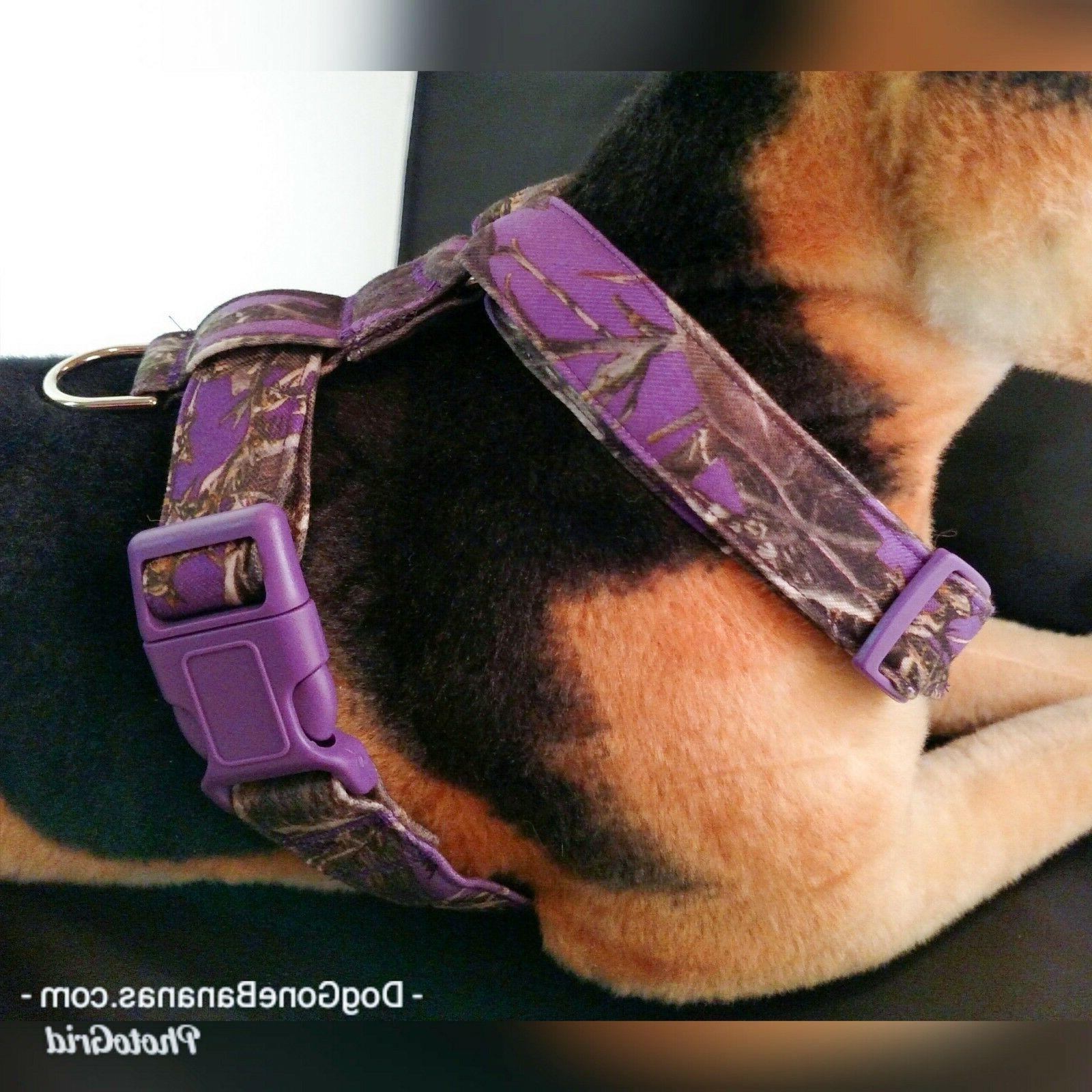 Purple Camouflage Dog Harness Optional Leash and Seat Belt H