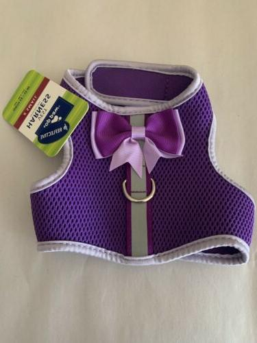 purple dog puppy harness with bow xs
