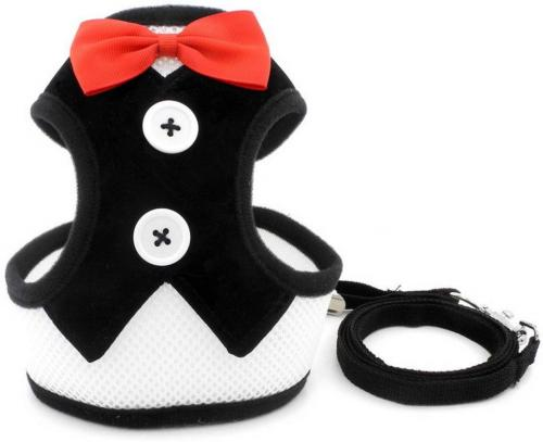 SMALLLEE_LUCKY_STORE Bowtie Small Tuxedo Harness for Puppy Boy, Adjustable