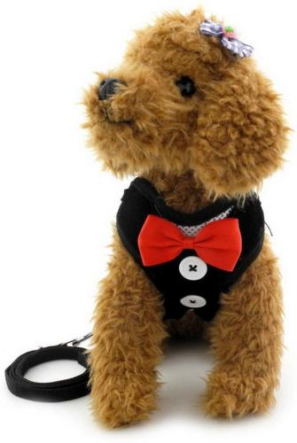 SMALLLEE_LUCKY_STORE Bowtie Tuxedo Harness for Puppy