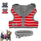 Soft Dog Harness and Leash set Cute Stripe Puppy Hoodie Vest