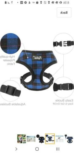 PUPTECK Soft Mesh Dog Harness - Plaid blue Adjustable size X