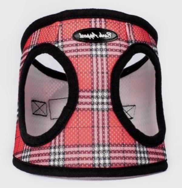Step In Dog Harness Red Plaid Mesh EZ Wrap No Choke Up to 29