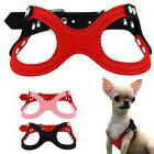 Suede Leather Puppy Dog Harness Glasses Style Rhinstones Sma