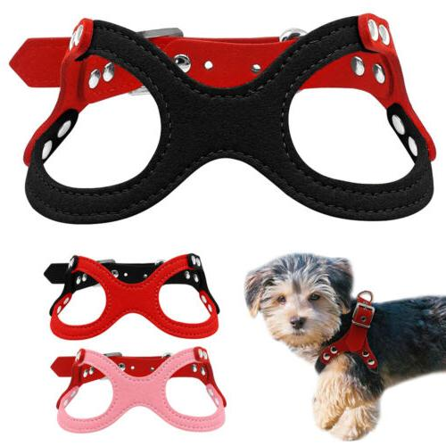Suede Leather Puppy Pet Dog Harness for Chihuahua Yorkie Poo