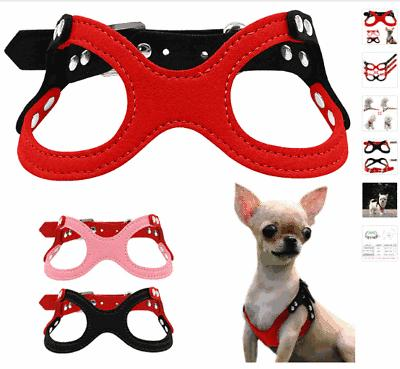 Soft Suede Leather Small Dog Harness Puppies Chihuahua Yorki