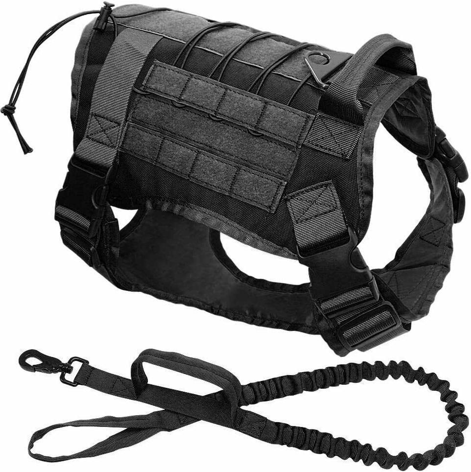 Tactical Police Training Dog Harness Military Nylon Vest+Leash