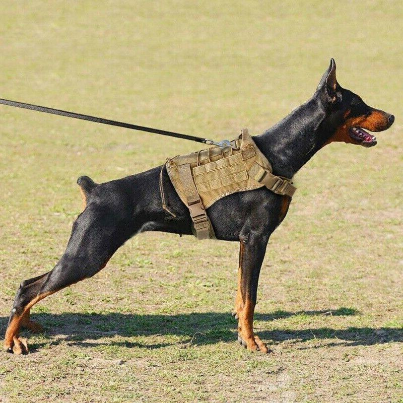 Tactical Police K9 Dog Harness Nylon Vest+Leash