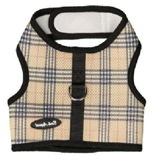 Tan Plaid Dog Harness Wrap N Go Mesh 2 Strap Closure Choke F