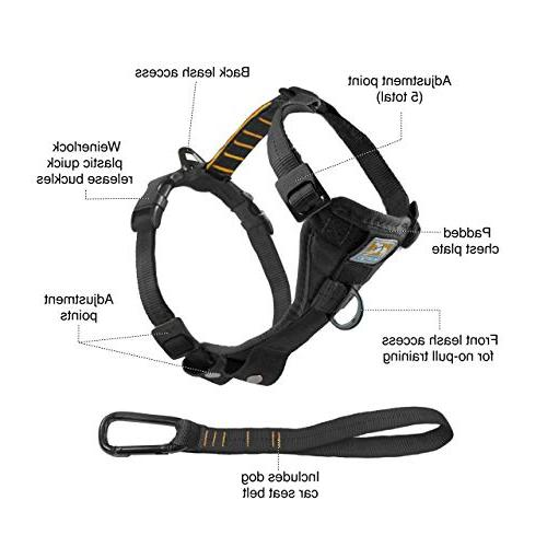Kurgo Tru-Fit No Pull Dog Harness, Harness, and Off Harness Seat Tether Car,