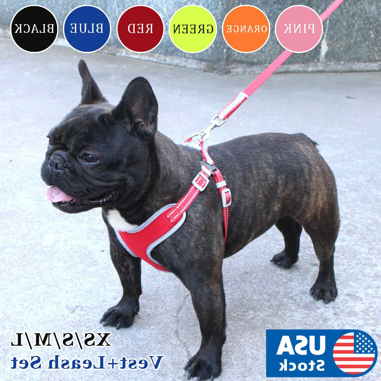 usa reflective dog vest harness leash collar