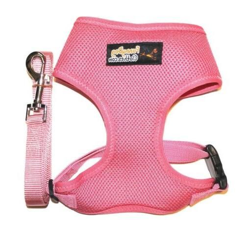 USA Seller Dog Clothes Soft Mesh Dog Puppy Harness + Leash P