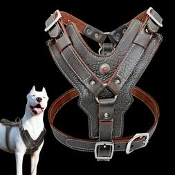 Leather Dog Harness Heavy Duty Big Dogs Vest for Pit Bull Bo