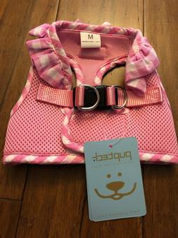 Pupteck  M Pink & Checkered Frills Soft Mesh Dog Vest Harnes