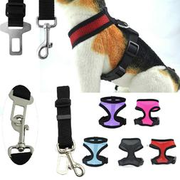 Mesh Harness & SEAT BELT Combo Pet Dog Cat Soft Walk Collar