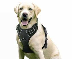 New Black RABBITGOO Reflective No Pull Dog Harness LARGE