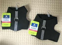 New BLING XS Dog Vest Harnesses Set of 2 Black NWT **BENEFIT