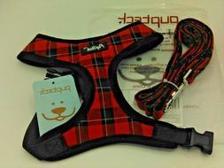 New PUPTECK Soft Mesh Dog Harness + Leash Black & Red Plaid