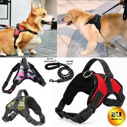 No Pull Adjustable Dog Pet Vest Harness Heavy Duty Nylon Med