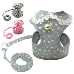 Pet Dog Mesh Vest Harness and Leash Set with Cute Bell for D