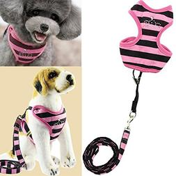 Bro'Bear Pet Stripes Vest Mesh Harness and Leash Set with Rh