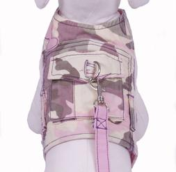 Cha Cha Couture Pink Camo Dog Harness Vest with matching lea