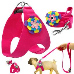 Pink Flower Suede Leather Puppy Pet Dog Harness and Leash Se