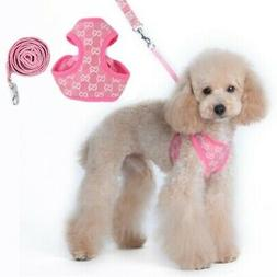 Pink Soft Breathable Pet Dog Vest Harness Leather Harnesses