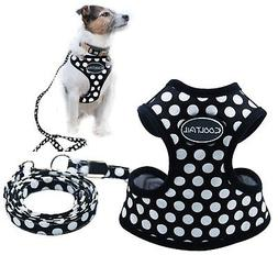 Puppy Harness And Leash For Small Dog Soft Mesh Pet Vest Bla