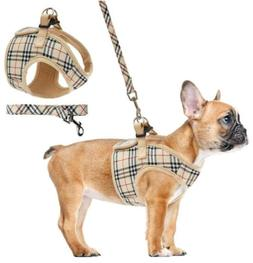 Puptech Soft Mesh Polyester No Pull Plaid Dog Harness Leash