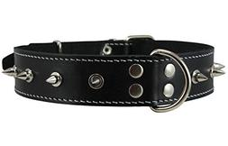 Dogs My Love Real Leather Black Spiked Dog Collar Spikes, 1.