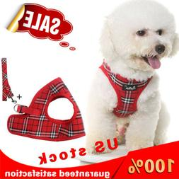 Red Classic Plaid Pet Harness With Leash Adjustable Soft Har