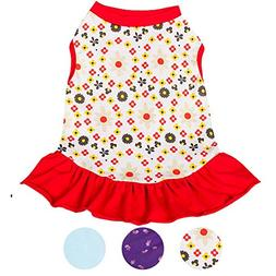 Blueberry Pet Red & Sunshine Yellow Floral Cotton Dog Dress,