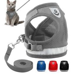 Reflective Mesh Cat Walking Harness and Leash Set Puppy Smal