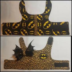 Reversible Dog Harness Batman puppy bow bat custom handmade