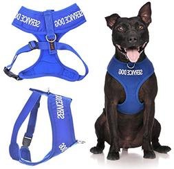 Service Dog Blue Color Coded Waterproof Padded Adjustable No