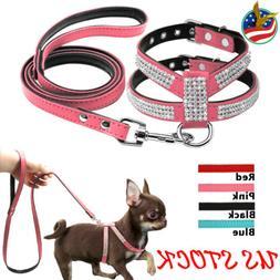 Small Pet Dog Harness Leash Set Suede Rhinestone Puppy Walki