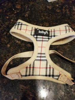 PUPTECK Small Plaid Soft Mesh Dog Harness Vest Harness  Tan