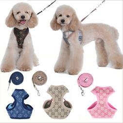 Soft Breathable Pet Dog Vest Harness Leather Harnesses Set f