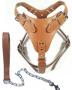 "Dogs Kingdom 24""-32"" Soft Leather Dog Harness&leash Set Larg"