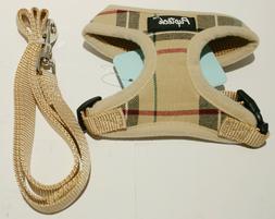 Pupteck Soft Mesh Plaid Dog Harness w/Leash - Tan Extra Smal