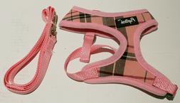 Pupteck Soft Mesh Plaid Dog Harness w/Leash - Pink Small