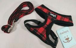 PUPTECK Soft Mesh - Red Plaid Adjustable No Pull Dog Harness